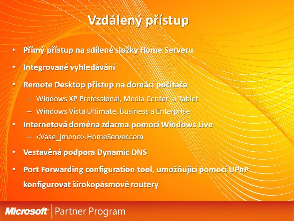 Vzdálený přístup Přímý přístup na sdílené složky Home Serveru Přímý přístup na sdílené složky Home Serveru Integrované vyhledávání Integrované vyhledávání Remote Desktop přístup na domácí počítače Remote Desktop přístup na domácí počítače – Windows XP Professional, Media Center a Tablet – Windows Vista Ultimate, Business a Enterprise Internetová doména zdarma pomocí Windows Live Internetová doména zdarma pomocí Windows Live –.HomeServer.com Vestavěná podpora Dynamic DNS Vestavěná podpora Dynamic DNS Port Forwarding configuration tool, umožňující pomocí UPnP konfigurovat širokopásmové routery Port Forwarding configuration tool, umožňující pomocí UPnP konfigurovat širokopásmové routery 42