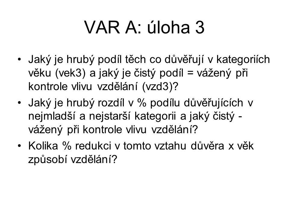 VAR A: úloha 3 Jaký je hrubý podíl těch co důvěřují v kategoriích věku (vek3) a jaký je čistý podíl = vážený při kontrole vlivu vzdělání (vzd3).