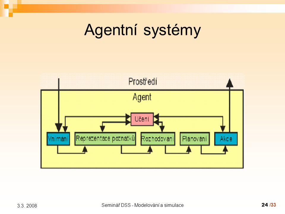 Seminář DSS - Modelování a simulace24 3.3. 2008 Agentní systémy /33