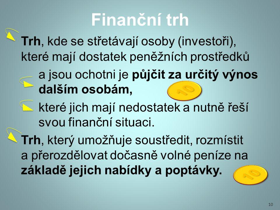 Finanční trh Trh, kde se střetávají osoby (investoři), které mají dostatek peněžních prostředků a jsou ochotni je půjčit za určitý výnos dalším osobám, které jich mají nedostatek a nutně řeší svou finanční situaci.