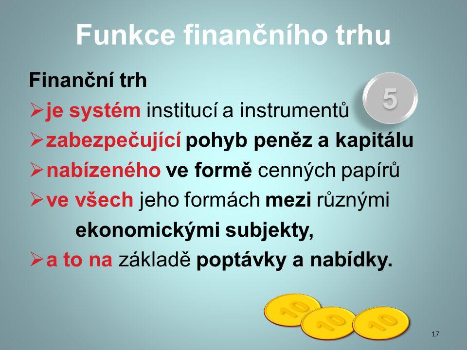 Funkce finančního trhu Finanční trh  je systém institucí a instrumentů  zabezpečující pohyb peněz a kapitálu  nabízeného ve formě cenných papírů  ve všech jeho formách mezi různými ekonomickými subjekty,  a to na základě poptávky a nabídky.