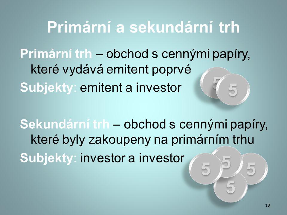 Primární a sekundární trh Primární trh – obchod s cennými papíry, které vydává emitent poprvé Subjekty: emitent a investor Sekundární trh – obchod s cennými papíry, které byly zakoupeny na primárním trhu Subjekty: investor a investor 18 55 55 55 55 55 55