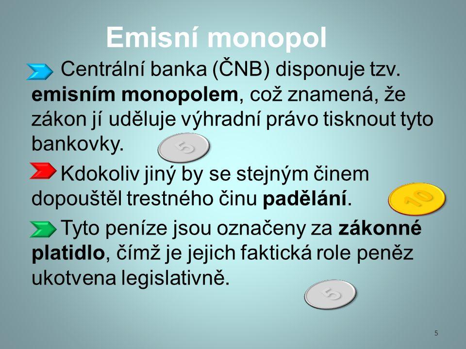 Emisní monopol Centrální banka (ČNB) disponuje tzv.