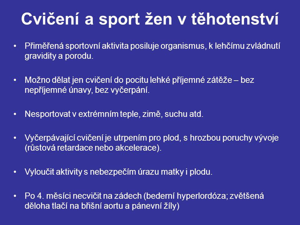 Cvičení a sport žen v těhotenství Přiměřená sportovní aktivita posiluje organismus, k lehčímu zvládnutí gravidity a porodu. Možno dělat jen cvičení do