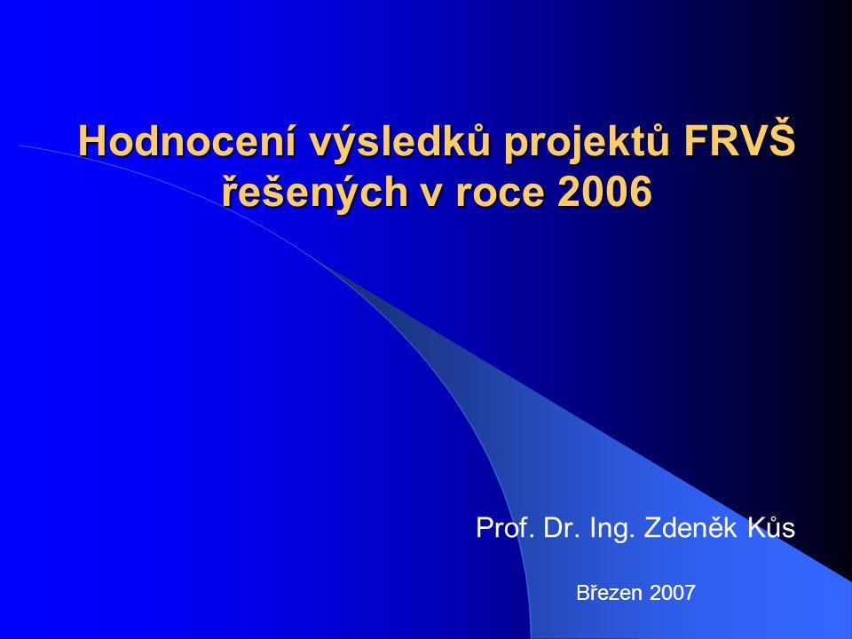 Hodnocení výsledků projektů FRVŠ řešených v roce 2006 Prof. Dr. Ing. Zdeněk Kůs Březen 2007