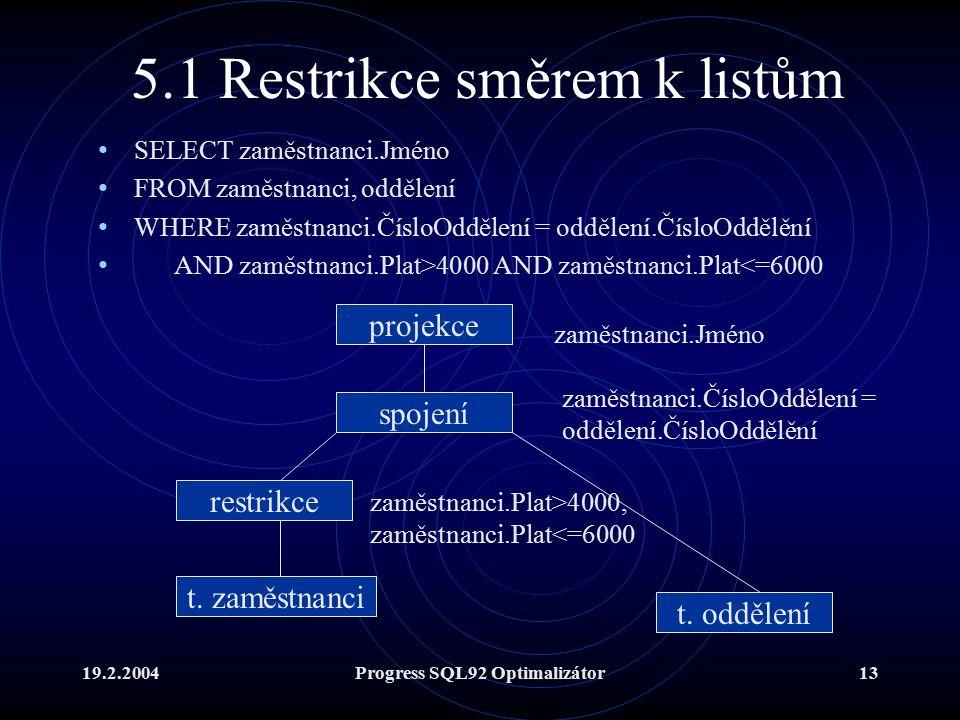 19.2.2004Progress SQL92 Optimalizátor13 5.1 Restrikce směrem k listům SELECT zaměstnanci.Jméno FROM zaměstnanci, oddělení WHERE zaměstnanci.ČísloOddělení = oddělení.ČísloOddělění AND zaměstnanci.Plat>4000 AND zaměstnanci.Plat<=6000 spojení t.