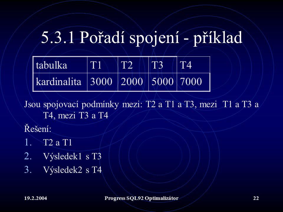 19.2.2004Progress SQL92 Optimalizátor22 5.3.1 Pořadí spojení - příklad Jsou spojovací podmínky mezi: T2 a T1 a T3, mezi T1 a T3 a T4, mezi T3 a T4 Řešení: 1.