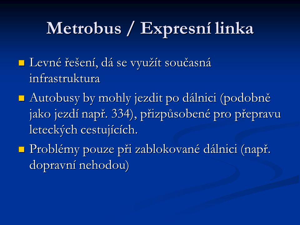 Metrobus / Expresní linka Levné řešení, dá se využít současná infrastruktura Levné řešení, dá se využít současná infrastruktura Autobusy by mohly jezd