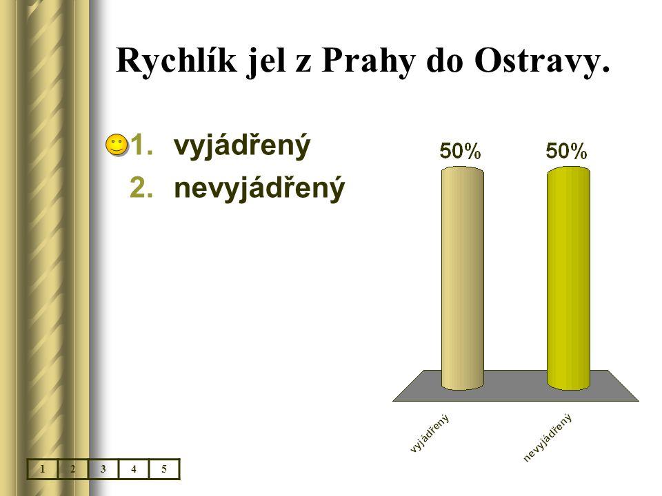 Rychlík jel z Prahy do Ostravy. 1.vyjádřený 2.nevyjádřený 12345