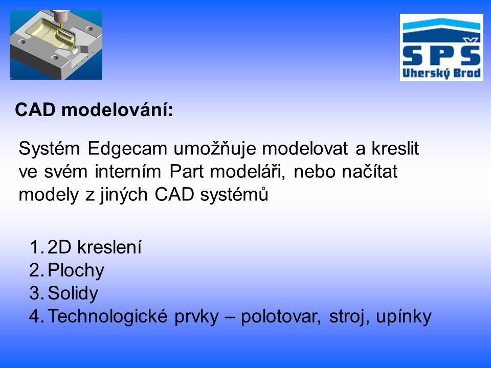 CAD modelování: Systém Edgecam umožňuje modelovat a kreslit ve svém interním Part modeláři, nebo načítat modely z jiných CAD systémů 1.2D kreslení 2.P