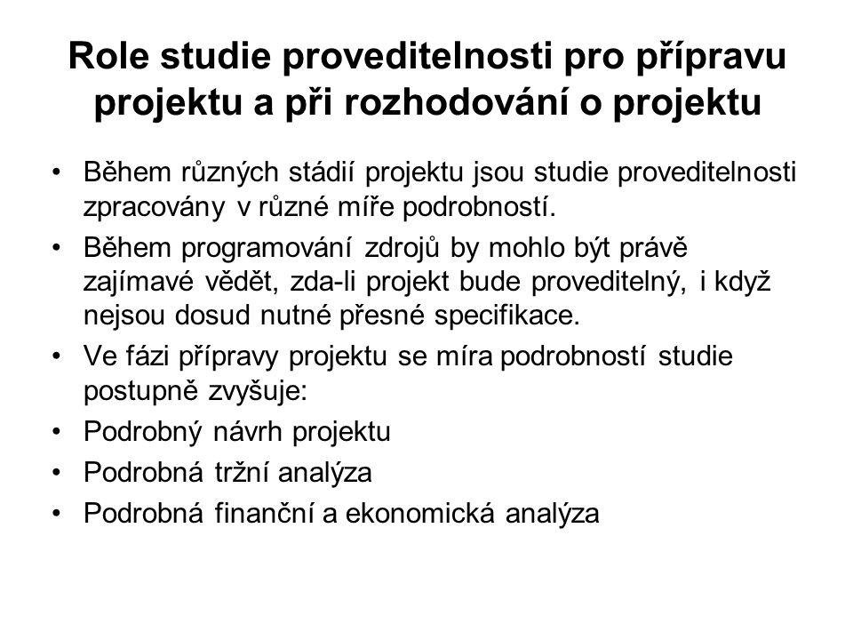 Role studie proveditelnosti pro přípravu projektu a při rozhodování o projektu Během různých stádií projektu jsou studie proveditelnosti zpracovány v