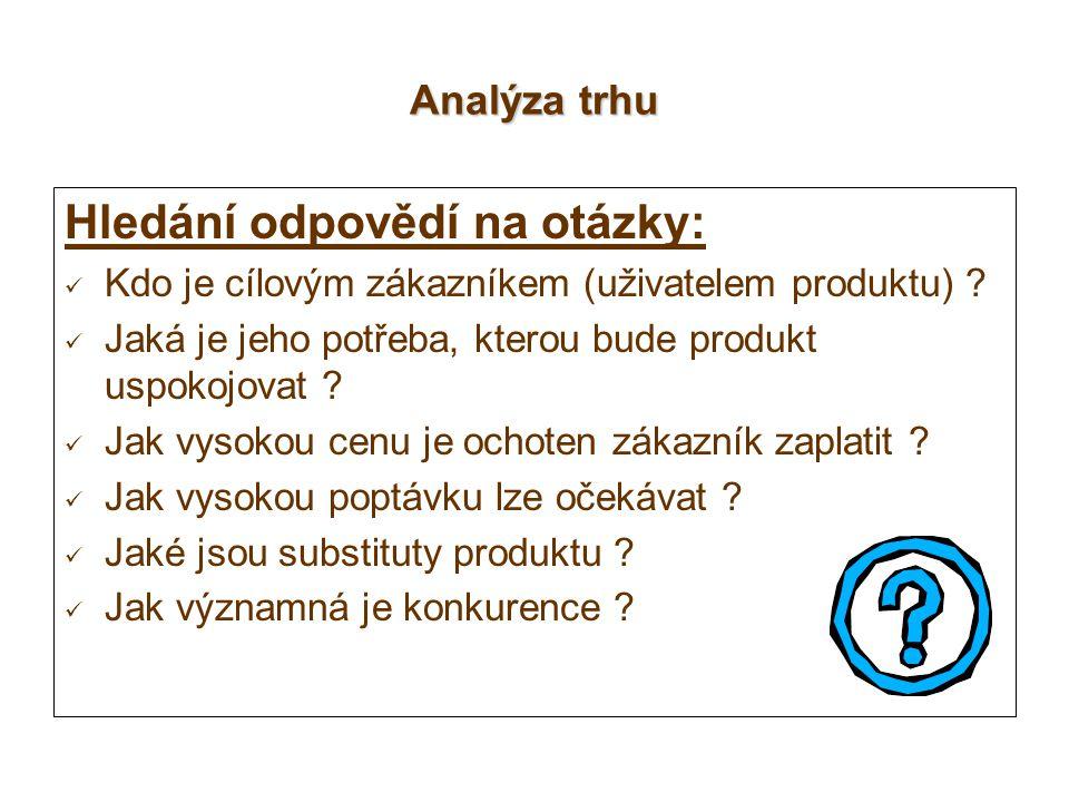 Analýza trhu Hledání odpovědí na otázky: Kdo je cílovým zákazníkem (uživatelem produktu) ? Jaká je jeho potřeba, kterou bude produkt uspokojovat ? Jak