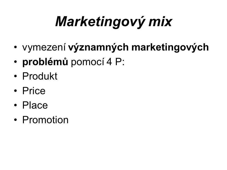 Marketingový mix vymezení významných marketingových problémů pomocí 4 P: Produkt Price Place Promotion