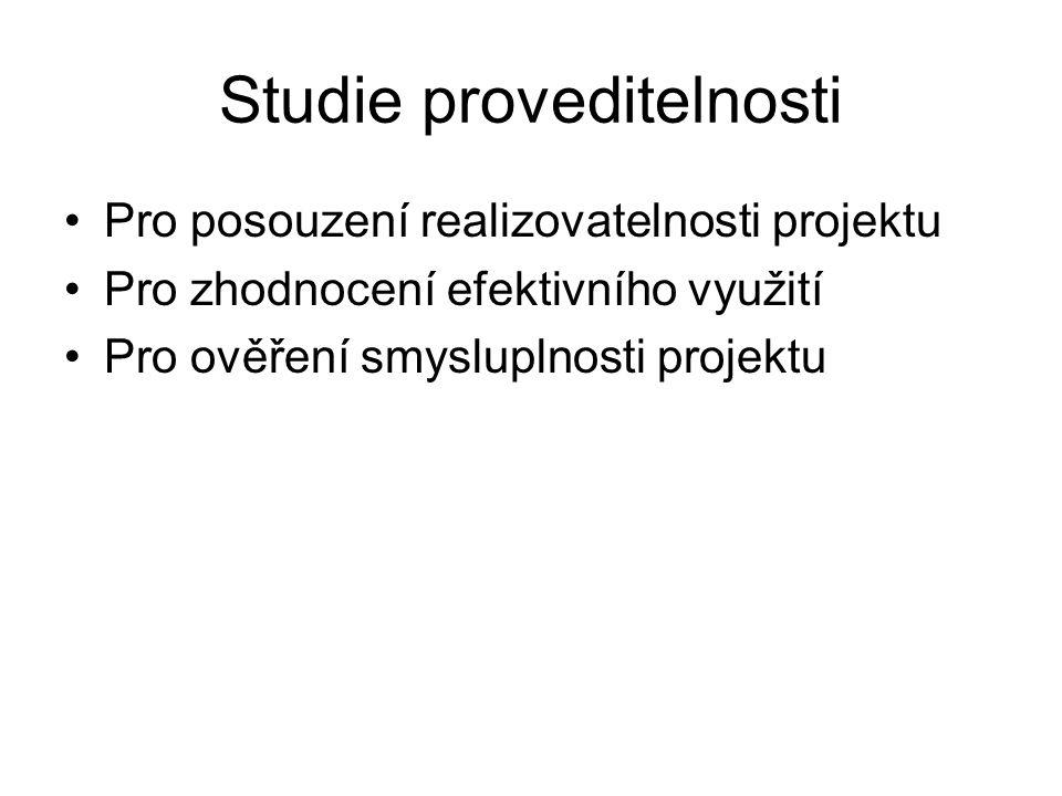 Studie proveditelnosti Pro posouzení realizovatelnosti projektu Pro zhodnocení efektivního využití Pro ověření smysluplnosti projektu