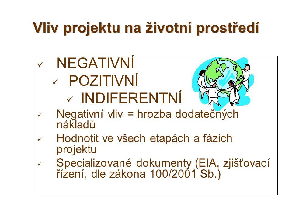 Vliv projektu na životní prostředí NEGATIVNÍ POZITIVNÍ INDIFERENTNÍ Negativní vliv = hrozba dodatečných nákladů Hodnotit ve všech etapách a fázích pro