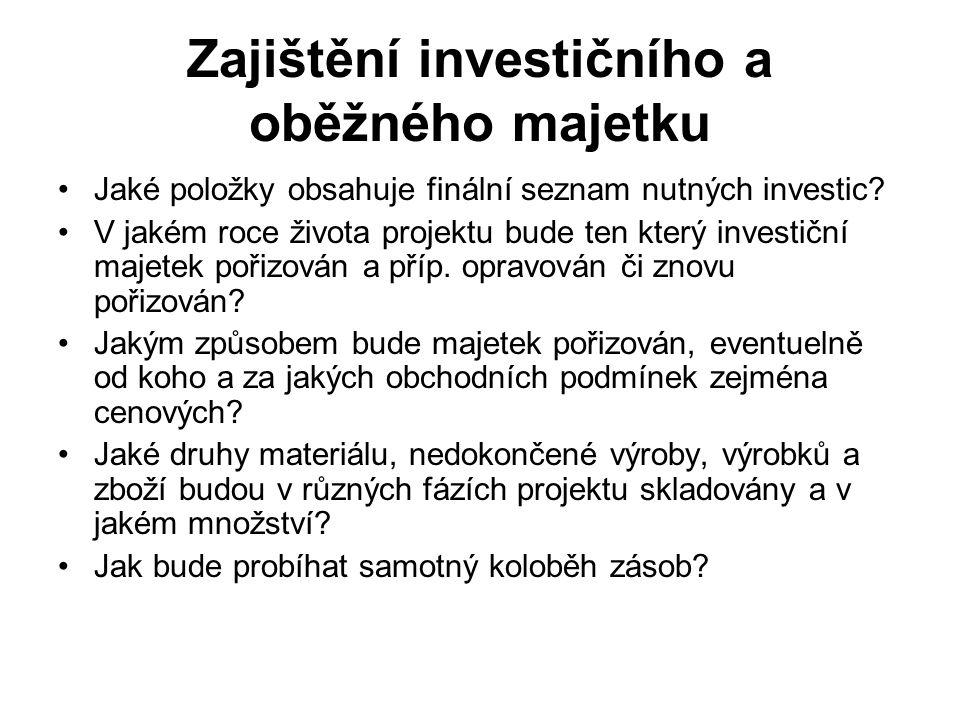 Zajištění investičního a oběžného majetku Jaké položky obsahuje finální seznam nutných investic? V jakém roce života projektu bude ten který investičn