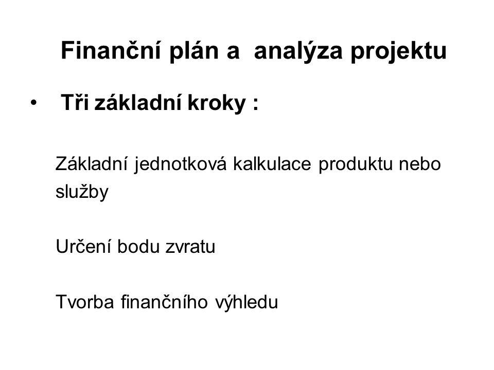 Finanční plán a analýza projektu Tři základní kroky : Základní jednotková kalkulace produktu nebo služby Určení bodu zvratu Tvorba finančního výhledu