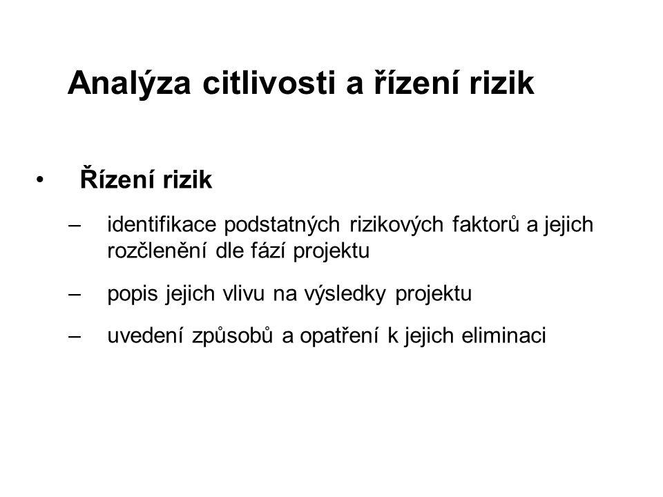 Řízení rizik –identifikace podstatných rizikových faktorů a jejich rozčlenění dle fází projektu –popis jejich vlivu na výsledky projektu –uvedení způs