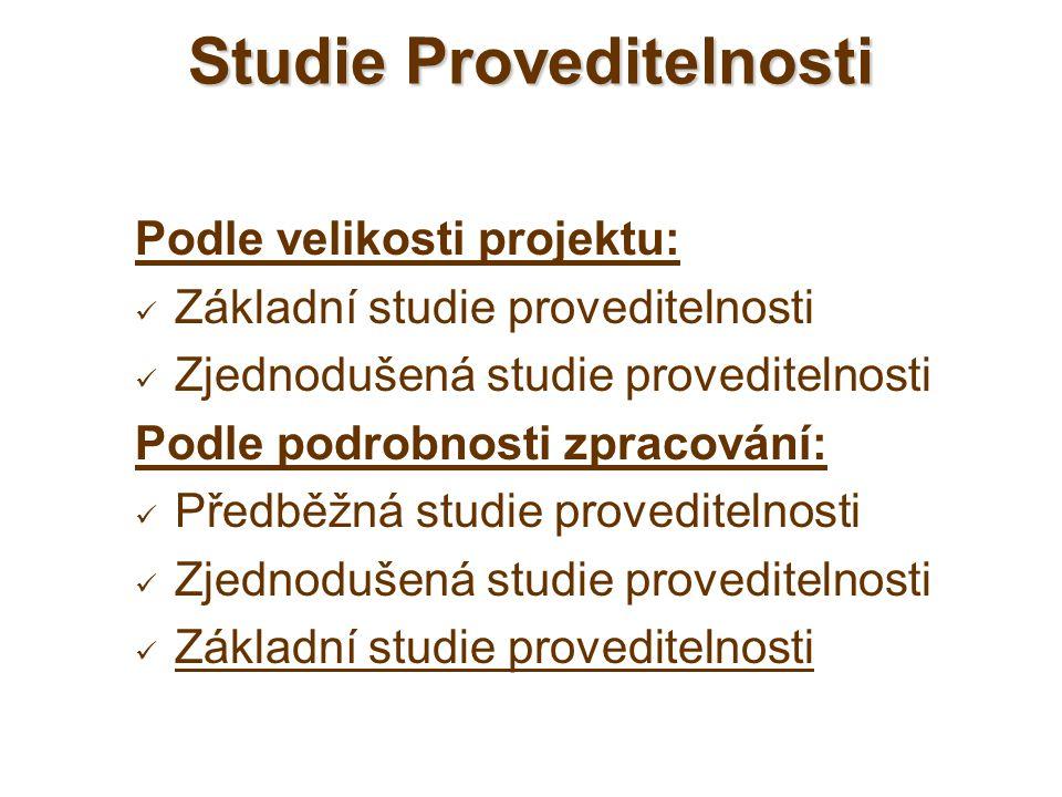 Podle velikosti projektu: Základní studie proveditelnosti Zjednodušená studie proveditelnosti Podle podrobnosti zpracování: Předběžná studie provedite