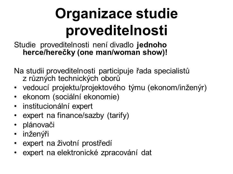 Organizace studie proveditelnosti Studie proveditelnosti není divadlo jednoho herce/herečky (one man/woman show)! Na studii proveditelnosti participuj