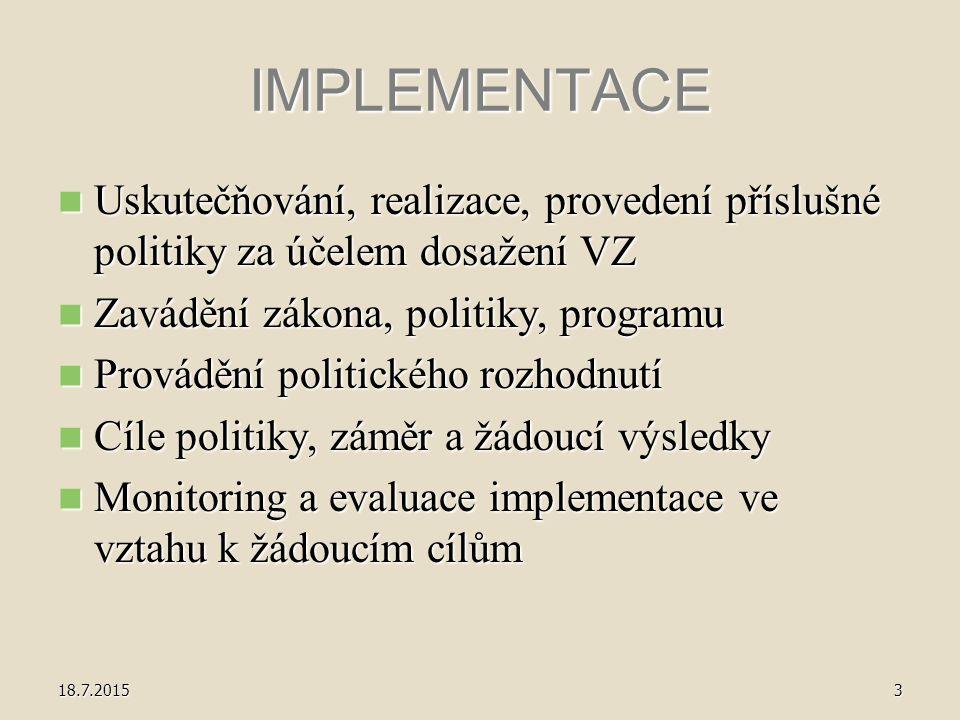 IMPLEMENTACE Uskutečňování, realizace, provedení příslušné politiky za účelem dosažení VZ Uskutečňování, realizace, provedení příslušné politiky za účelem dosažení VZ Zavádění zákona, politiky, programu Zavádění zákona, politiky, programu Provádění politického rozhodnutí Provádění politického rozhodnutí Cíle politiky, záměr a žádoucí výsledky Cíle politiky, záměr a žádoucí výsledky Monitoring a evaluace implementace ve vztahu k žádoucím cílům Monitoring a evaluace implementace ve vztahu k žádoucím cílům 18.7.20153