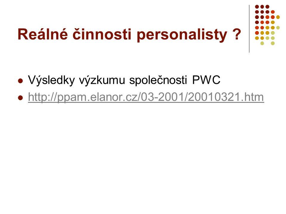 Reálné činnosti personalisty ? Výsledky výzkumu společnosti PWC http://ppam.elanor.cz/03-2001/20010321.htm