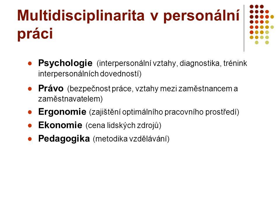 Multidisciplinarita v personální práci Psychologie (interpersonální vztahy, diagnostika, trénink interpersonálních dovedností) Právo (bezpečnost práce