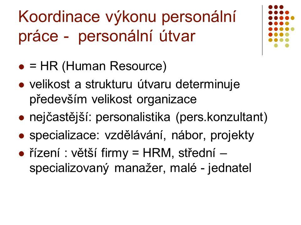Koordinace výkonu personální práce - personální útvar = HR (Human Resource) velikost a strukturu útvaru determinuje především velikost organizace nejč