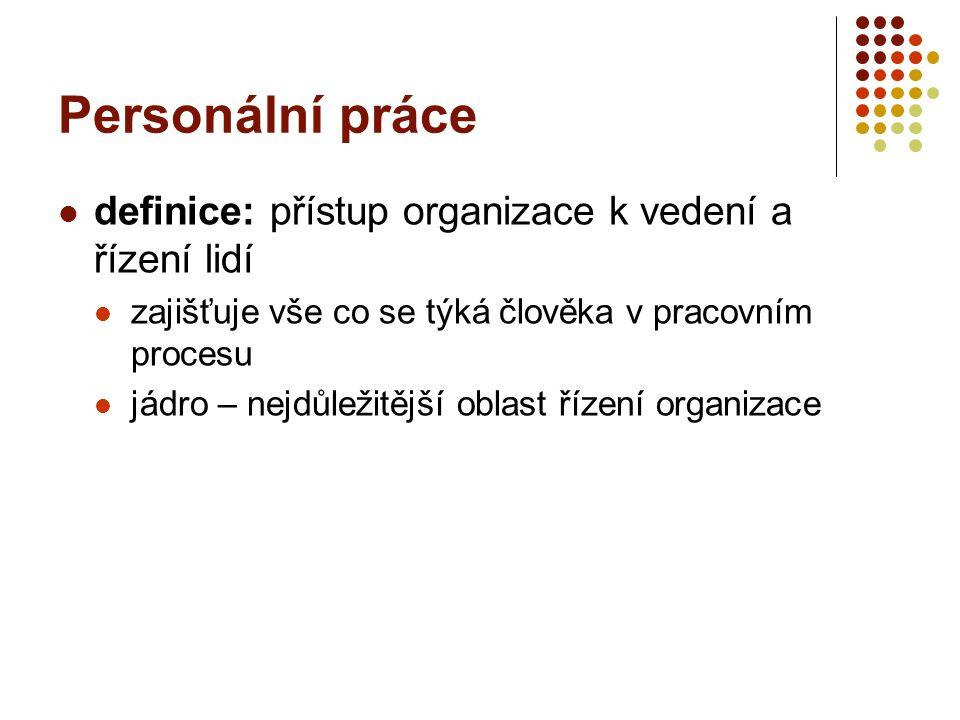 Personální práce definice: přístup organizace k vedení a řízení lidí zajišťuje vše co se týká člověka v pracovním procesu jádro – nejdůležitější oblas