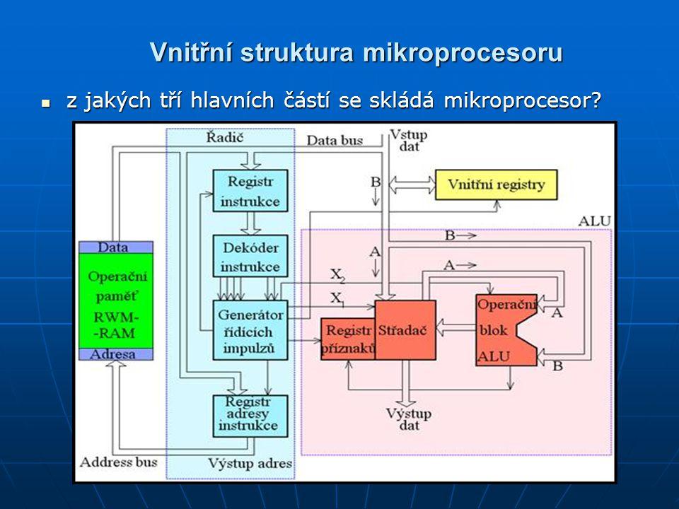 Vnitřní struktura mikroprocesoru z jakých tří hlavních částí se skládá mikroprocesor.