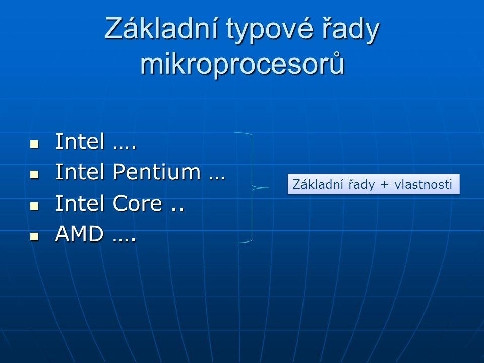 Základní typové řady mikroprocesorů Intel ….Intel ….