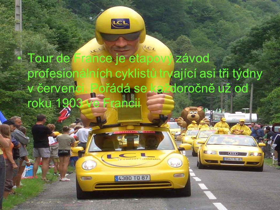 Tour de France je etapový závod profesionálních cyklistů trvající asi tři týdny v červenci.