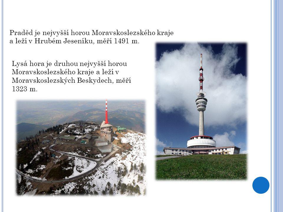 Praděd je nejvyšší horou Moravskoslezského kraje a leží v Hrubém Jeseníku, měří 1491 m. Lysá hora je druhou nejvyšší horou Moravskoslezského kraje a l