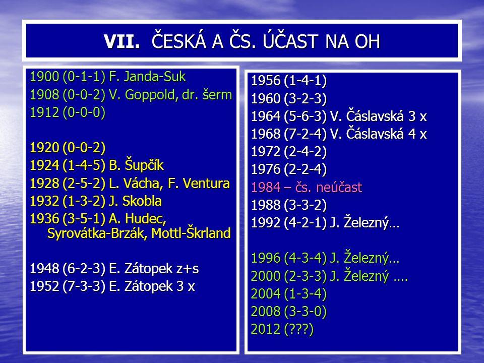 VIII.ČESKÁ A ČS. ÚČAST NA ZOH 1924 (0-0-0) 1928 (0-0-1) R.