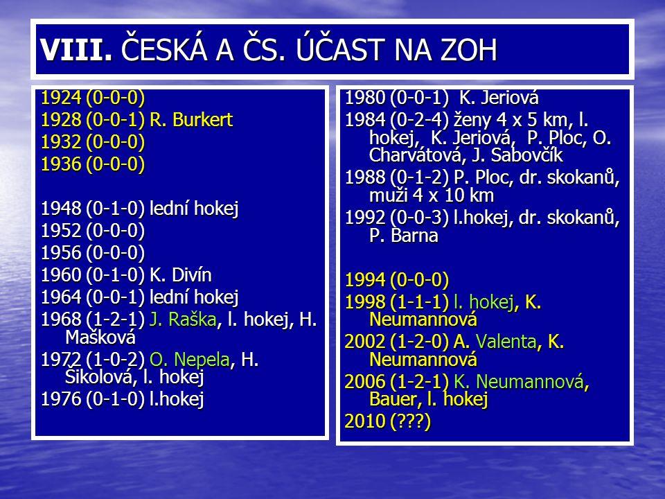 VIII. ČESKÁ A ČS. ÚČAST NA ZOH 1924 (0-0-0) 1928 (0-0-1) R. Burkert 1932 (0-0-0) 1936 (0-0-0) 1948 (0-1-0) lední hokej 1952 (0-0-0) 1956 (0-0-0) 1960