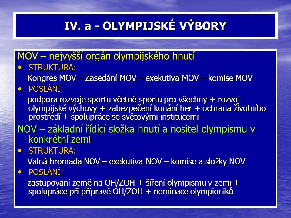 IV. a - OLYMPIJSKÉ VÝBORY MOV – nejvyšší orgán olympijského hnutí STRUKTURA: STRUKTURA: Kongres MOV – Zasedání MOV – exekutiva MOV – komise MOV Kongre