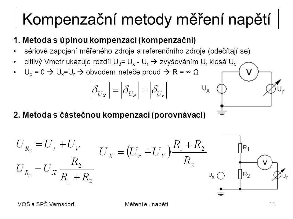 VOŠ a SPŠ VarnsdorfMěření el. napětí11 Kompenzační metody měření napětí 1. Metoda s úplnou kompenzací (kompenzační) sériové zapojení měřeného zdroje a
