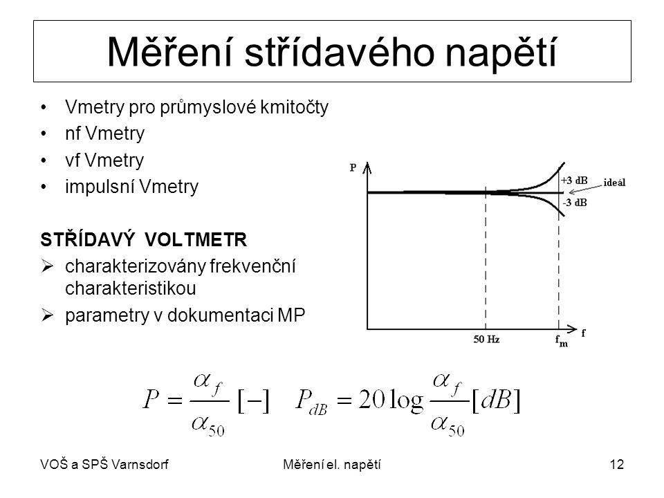 VOŠ a SPŠ VarnsdorfMěření el. napětí12 Měření střídavého napětí Vmetry pro průmyslové kmitočty nf Vmetry vf Vmetry impulsní Vmetry STŘÍDAVÝ VOLTMETR 