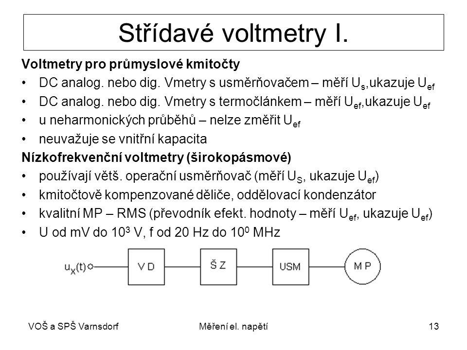 VOŠ a SPŠ VarnsdorfMěření el. napětí13 Střídavé voltmetry I. Voltmetry pro průmyslové kmitočty DC analog. nebo dig. Vmetry s usměrňovačem – měří U s,u
