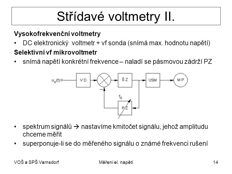 VOŠ a SPŠ VarnsdorfMěření el.napětí14 Střídavé voltmetry II.
