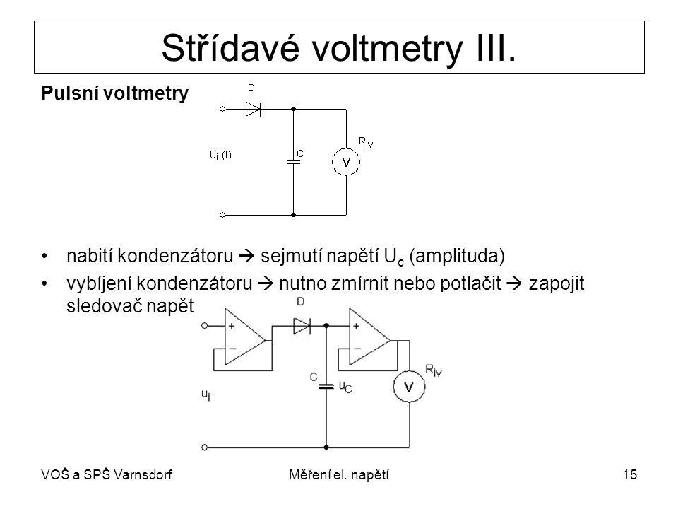 VOŠ a SPŠ VarnsdorfMěření el. napětí15 Střídavé voltmetry III. Pulsní voltmetry nabití kondenzátoru  sejmutí napětí U c (amplituda) vybíjení kondenzá