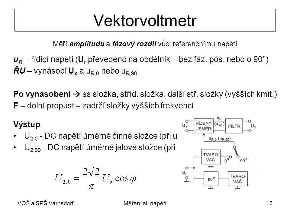 VOŠ a SPŠ VarnsdorfMěření el. napětí16 Vektorvoltmetr Měří amplitudu a fázový rozdíl vůči referenčnímu napětí u R – řídicí napětí (U r převedeno na ob