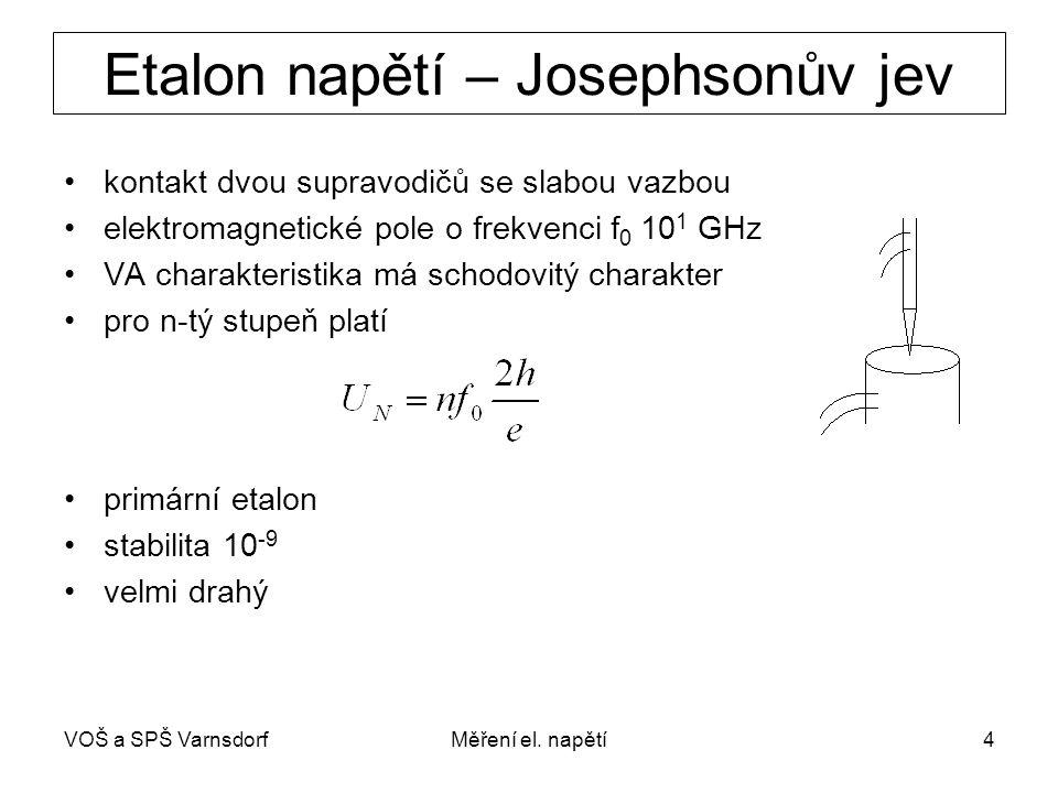 VOŠ a SPŠ VarnsdorfMěření el. napětí4 Etalon napětí – Josephsonův jev kontakt dvou supravodičů se slabou vazbou elektromagnetické pole o frekvenci f 0
