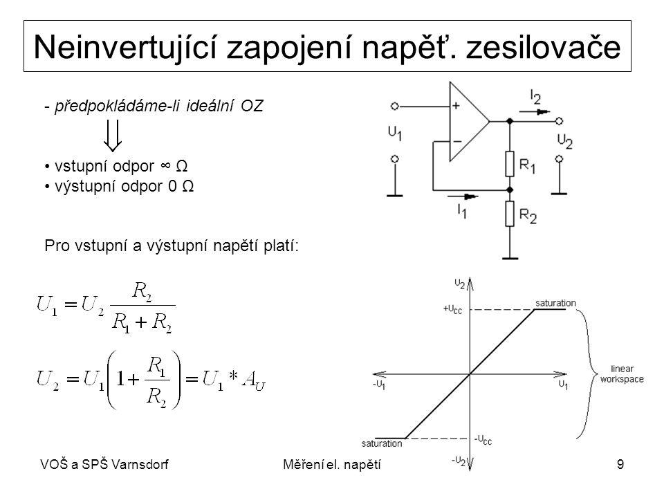 VOŠ a SPŠ VarnsdorfMěření el. napětí9 Neinvertující zapojení napěť. zesilovače - předpokládáme-li ideální OZ vstupní odpor ∞ Ω výstupní odpor 0 Ω Pro