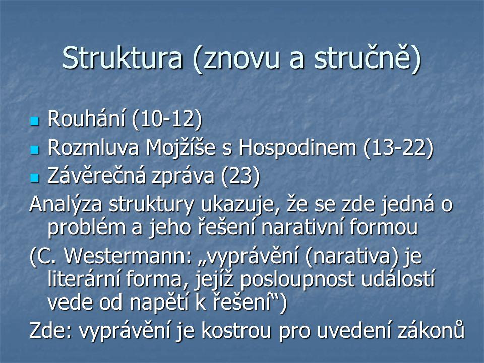 Struktura (znovu a stručně) Rouhání (10-12) Rouhání (10-12) Rozmluva Mojžíše s Hospodinem (13-22) Rozmluva Mojžíše s Hospodinem (13-22) Závěrečná zpráva (23) Závěrečná zpráva (23) Analýza struktury ukazuje, že se zde jedná o problém a jeho řešení narativní formou (C.