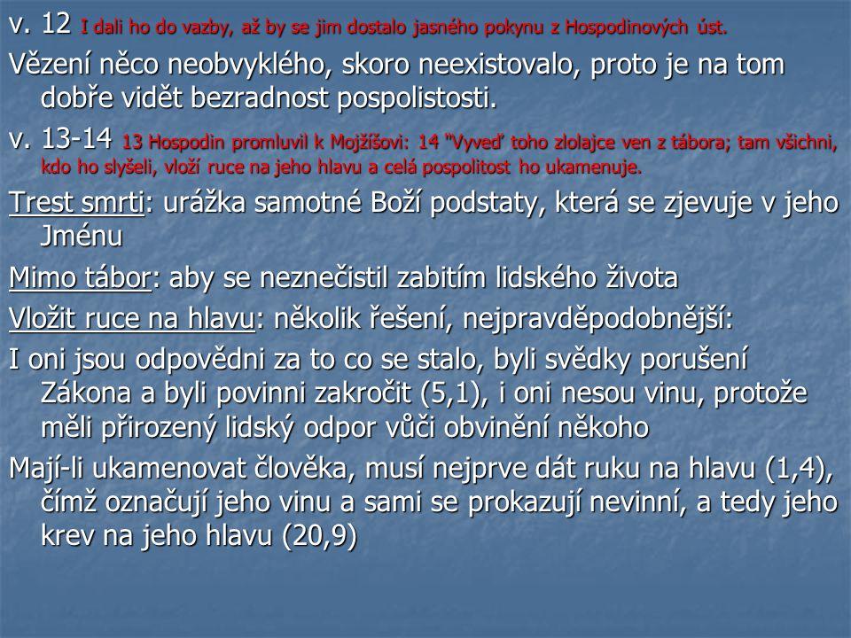 v. 12 I dali ho do vazby, až by se jim dostalo jasného pokynu z Hospodinových úst.