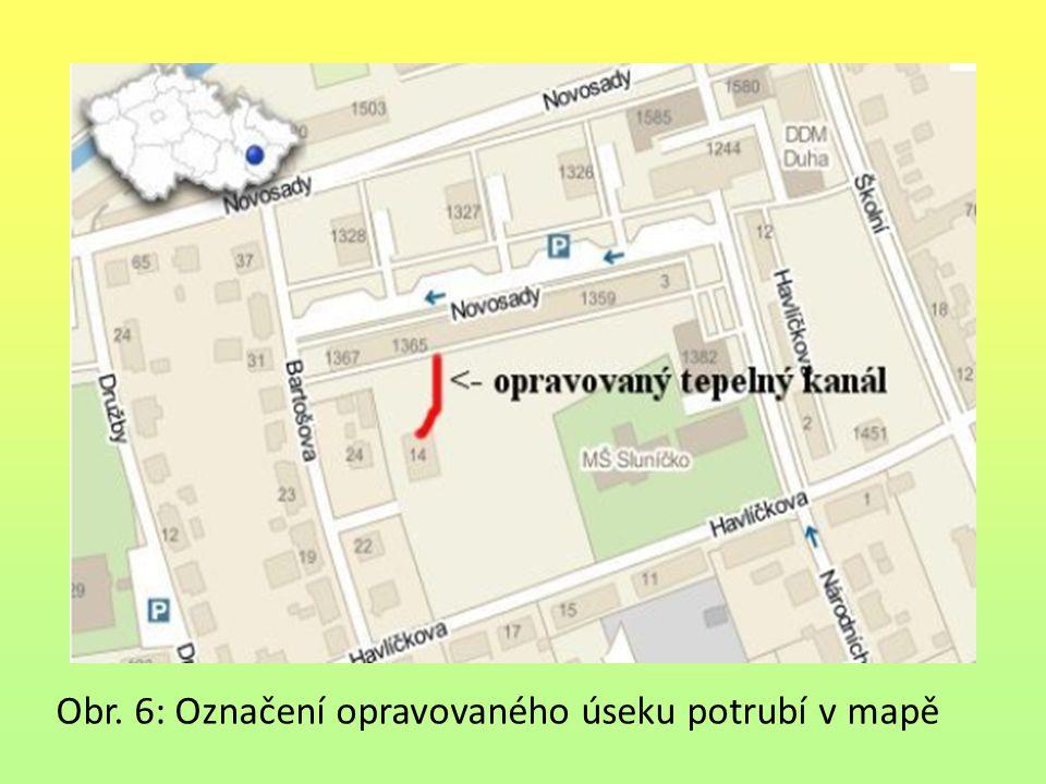 Obr. 6: Označení opravovaného úseku potrubí v mapě