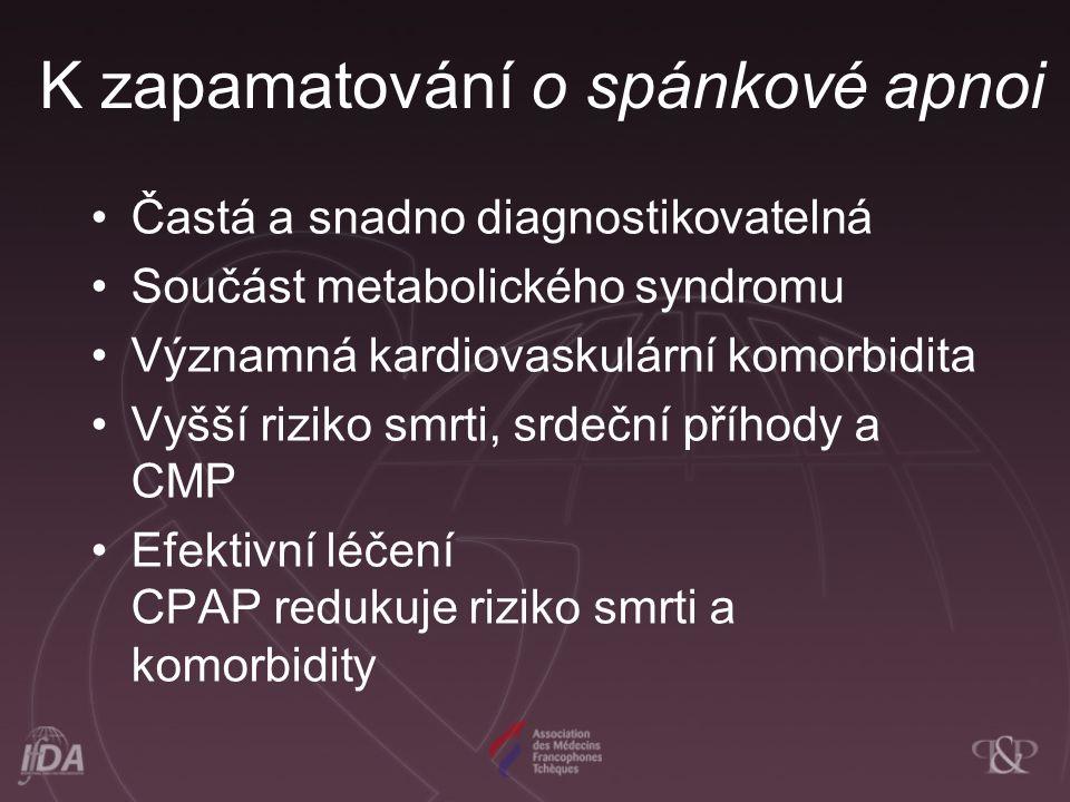 K zapamatování o spánkové apnoi Častá a snadno diagnostikovatelná Součást metabolického syndromu Významná kardiovaskulární komorbidita Vyšší riziko smrti, srdeční příhody a CMP Efektivní léčení CPAP redukuje riziko smrti a komorbidity