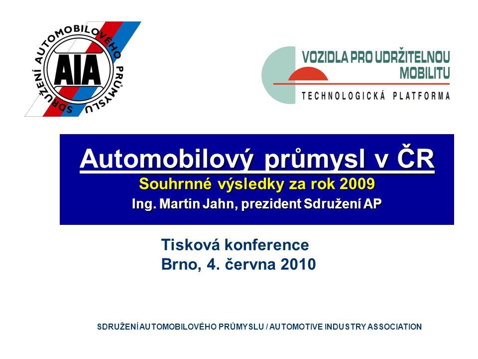 mobilový průmysl v ČR Automobilový průmysl v ČR Souhrnné výsledky za rok 2009 Ing.