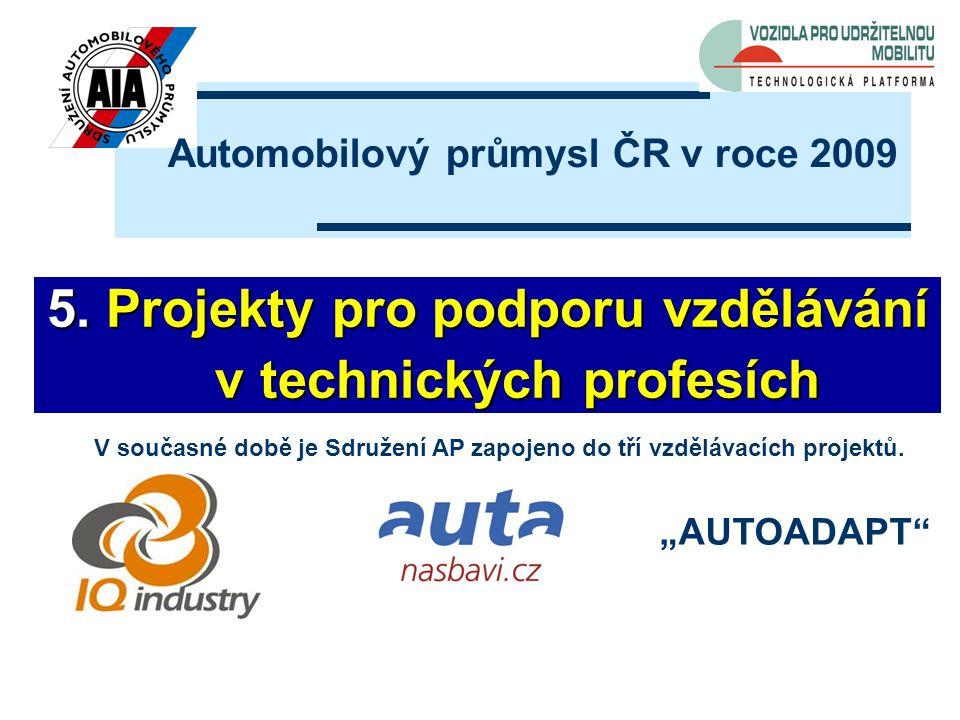 """5. Projekty pro podporu vzdělávání v technických profesích v technických profesích Automobilový průmysl ČR v roce 2009 """"AUTOADAPT"""" V současné době je"""